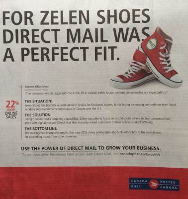 Canada Post ad for Zelen Shoes